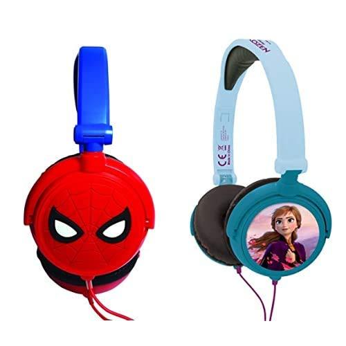 Spiderman Auriculares Estéreo con Diadema Ajustable, Color Distintos, 20.4 X 16.8 X 7.3 Cm (Giros Hp010Sp) + Disney Hp010Fz Auriculares Estéreo, Diadema Ajustable Y Plegable, Azul