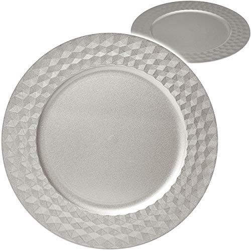 alles-meine.de GmbH 6 Stück _ große edle - XL Teller - Platzteller / Unterteller / Plätzchenteller - Ø 33 cm - Silber grau - Glanz - Rautenmuster gehämmert - Silberteller - Table..