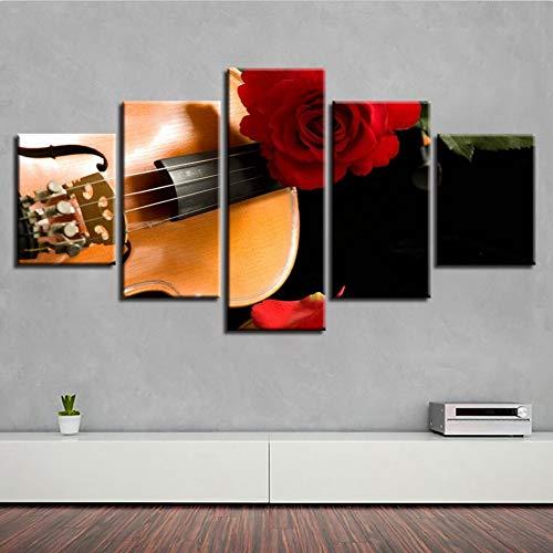 MMLFY 5 linnen wandafbeeldingen canvas poster kunst schilderij huis decoratie 5 stuks piano viool landschap woonkamer muur HD gedrukt stilleleven foto's No Frame 20x35 20x45 20x55 cm