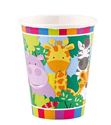 amscan 11012025 9901917 8 Papierbecher Dschungel Tiere, 250 ml, Mehrfarbig