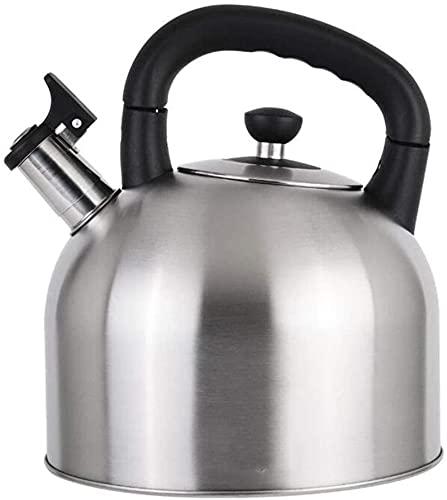 Olla de acero inoxidable 304 con silbato de gran capacidad para inducción, cocina de gas, 3 colores (capacidad: 4 L, color: plata)