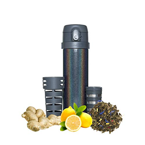 Mennä Stainless Steel Travel Tumbler With Built In Tea Infuser For Loose Leaf Tea, Hot and Cold, 12oz