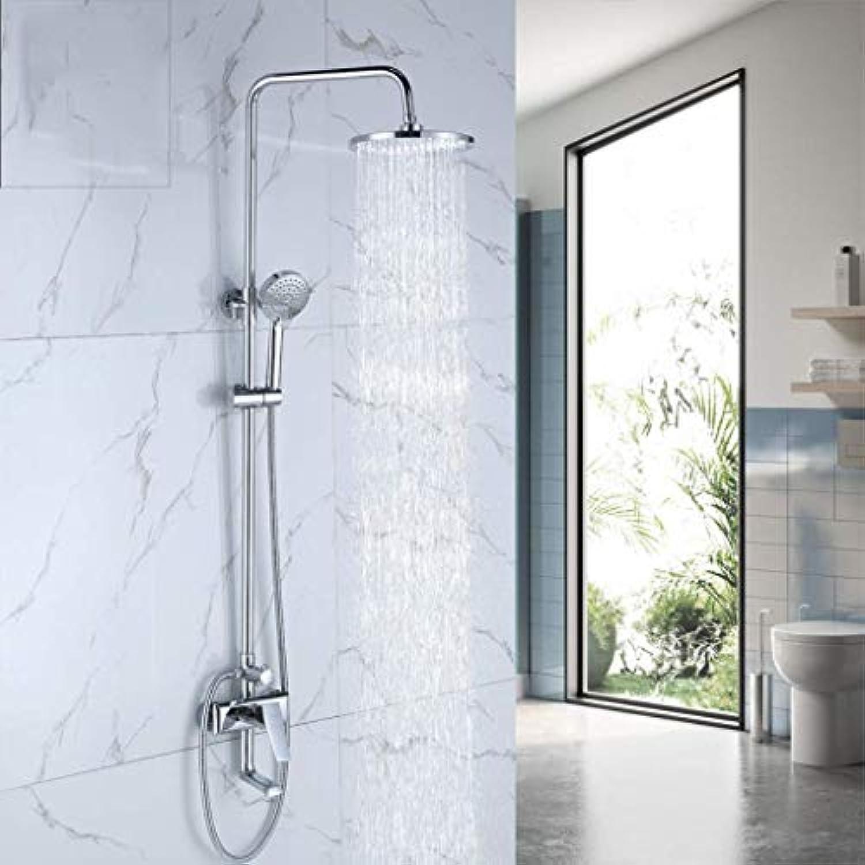 GWFVA Badezimmer-Brausebatteriesatz, Duschset, Wohnbereich, Badezimmer, Dreifach-Armatur, mit Grüncktem, in die Wand eingelassenem, multifunktionalem, rundem Brausestrahlventil