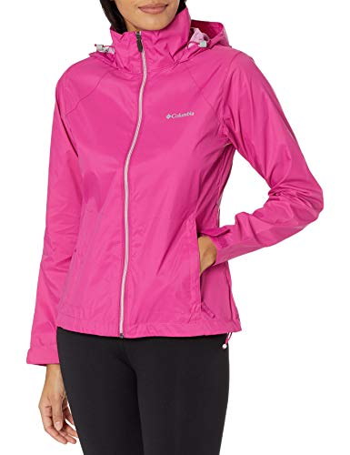 Columbia Women's Plus Size Switchback III Adjustable Waterproof Rain Jacket, Fuchsia, 3X