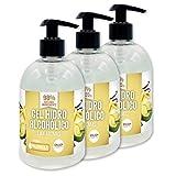 Gel hidroalcohólico NUEVOS AROMAS 3 unidades de 500 ml con 70% alcohol y con glicerina NATURAL para el cuidado de la piel. 98% ingredientes Naturales. (VAINILLA)