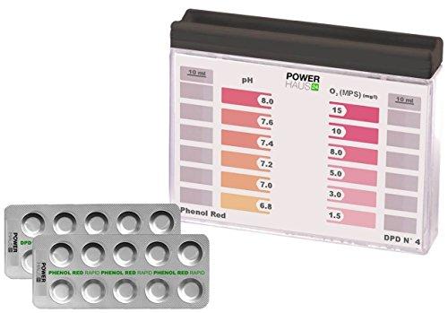 POWERHAUS24 Wassertester, Pooltester für pH-Wert und Aktivsauerstoff mit 20 Tabletten