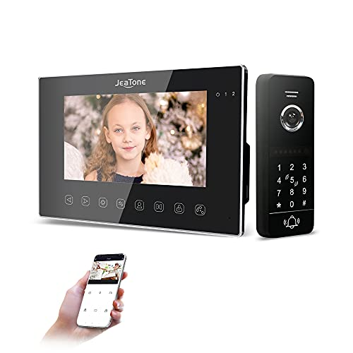 """JeaTone Kit videocitofono WLAN con videocitofono, 7"""" 960P/AHD con telecamera cablata 960P, 4 in 1 Tuya Smart App/Password/RFID / Monitor"""