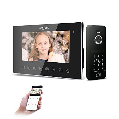 JeaTone Kit videocitofono WLAN con videocitofono, 7' 960P/AHD con telecamera cablata 960P, 4 in 1 Tuya Smart App/Password/RFID / Monitor