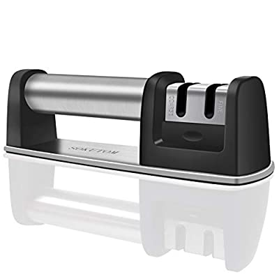 SOKUTOM Knife Sharpener for All Straight and Serrated Knives, Stainless Steel Ceramic and Tungsten, Safe and Easy to Use Kitchen Knife Sharpener, Sharpens Scissors