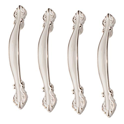 Lezed Cerámica Tiradores de los Muebles de puerta Armario Tirar de la Manija perilla del gabinete manija de los muebles Muebles de Arco de Cerámica Perilla del Gabinete 4 Piezas 145-149mm (Blanco)