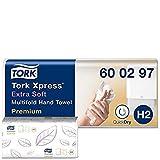 Tork Xpress 600297 Toallas de mano Premium / Toallas secamanos compatibles con el sistema H2 de Tork / 700 toallas / 2 capas / Blanco