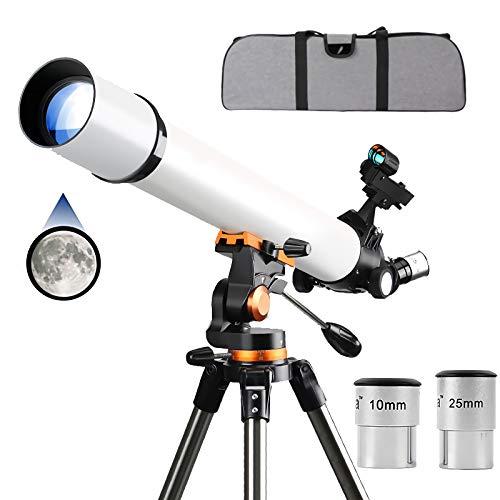 Bueuwe Telescopios para Adultos, niños y Principiantes, telescopios astronómicos de refracción de 70 mm, telescopios de Viaje Ajustables con Bolsa de Transporte, Adaptador de teléfono, trípode