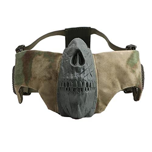ZHOUSAN Tactics Airsoft Máscara de Malla de Media Cara con protección para los oídos Máscara de Calavera Juego de Tiro de GuerraEquipo de Caza de Camuflaje de Campo al Aire Libre-FG
