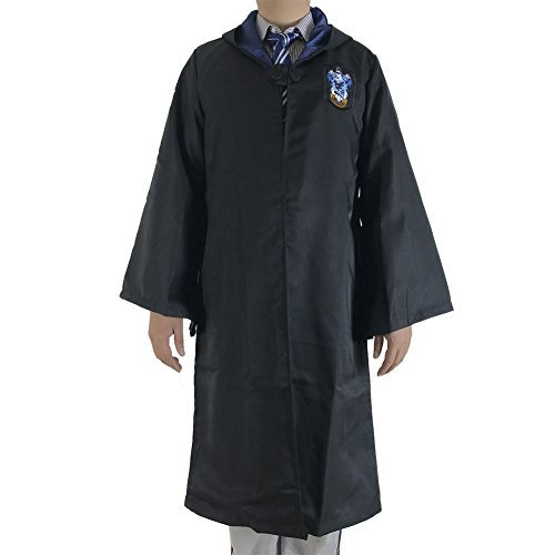 Great Adult Harry Potter Gryffindor Slytherin Ravenclaw Hufflepuff Fancy Robe Cloak Costume And Tie (M, Ravenclaw Robe&Tie)