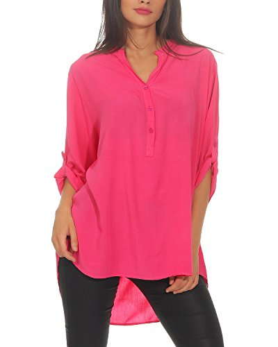 ZARMEXX locker fallende Viskosebluse Hemdbluse 3/4 Arm - Fischerhemd Loose fit leichte Bluse Tunika pink (38-42)