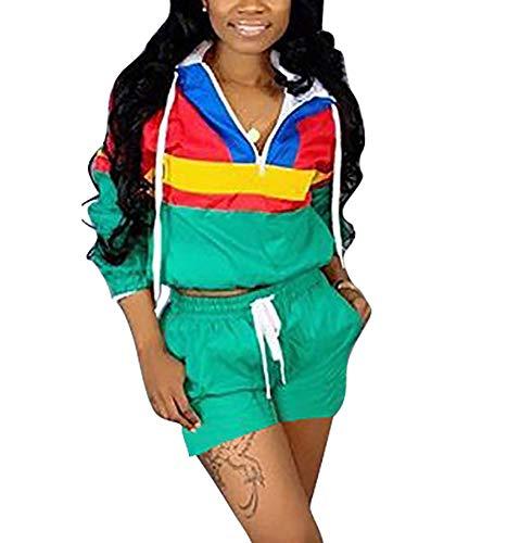 Women Colorblock 2 Piece Tracksuit Set Long Sleeve High Waist Pants Set Colour Sweatsuit Green XXL