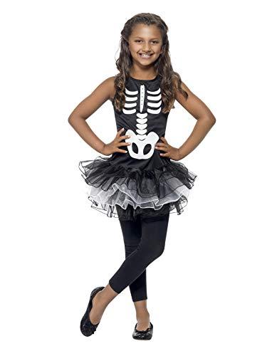 Smiffys Disfraz de Esqueleto con tutú, Negro y Blanco, con Vestido con tutú Estampado