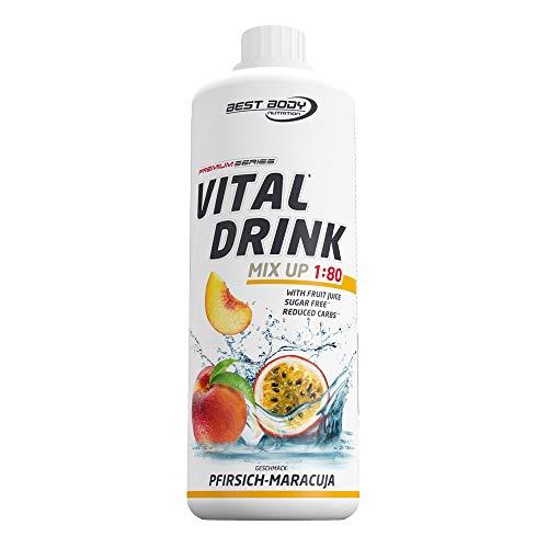 Best Body Nutrition Vital Drink Pfirsich-Maracuja, zuckerfreies Getränkekonzentrat, 1:80 ergibt 80 Liter Fertiggetränk, 1000 ml