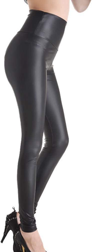 Guiran Mujeres PU Cuero Leggings Skinny El/ásticos Treggings Pantalones Cintura Alta Push Up Leggins