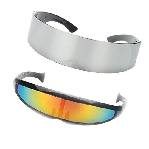 non-brand 2X Gafas de Sol Estrecho Metalizado Futurista Soldado Cíclope Cosplay Photo Props Disfraz Único