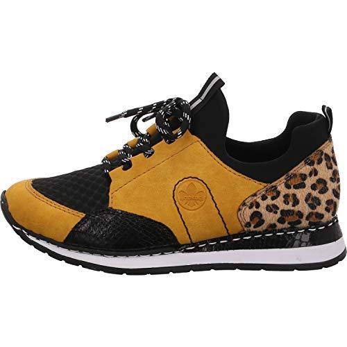 Rieker Damen N3083 Sneaker, Honig/schwarz/schwarz/Natur/schwarz 68, 42 EU