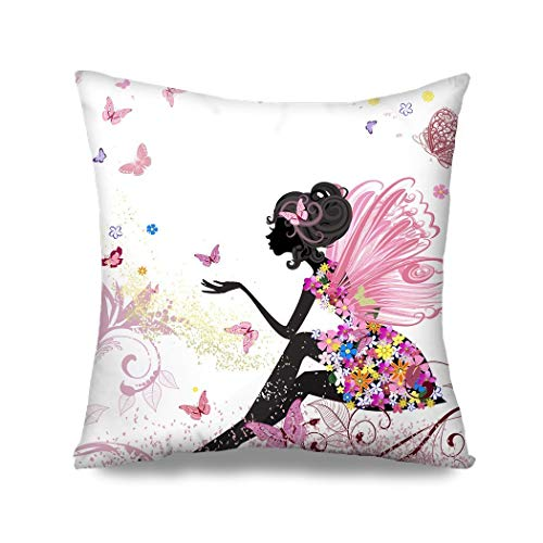 phjyjyeu Flower Fairy Girl With Pink Wing Elves And Butterflies Throw Pillow Case Cushion Cover Fashion Home Decorative Sofa Bedroom Pillowcase Gift Double Sides Printed 18x18 16' X 16'(IN)