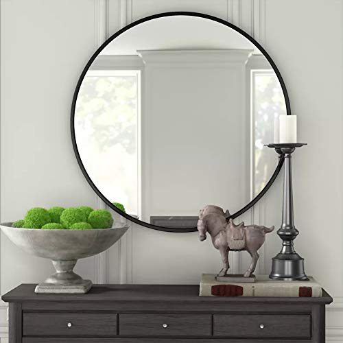 IPOUF Round Mirror,Wall Mirror with Metal Frame,24 Inch for Vanity Washrooms Bathroom -
