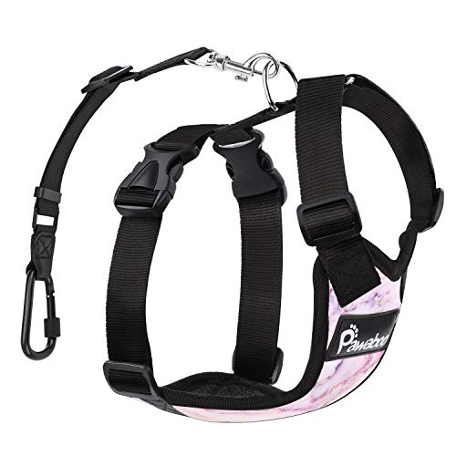 Pawaboo Dog Safety Vest Harness, Pet Car Harness Vehicle Seat Belt with Adjustable Strap and Carabiner, Easy Control for Driving Traveling Safety for Small Medium Dogs Cats, Large, Purple Marble