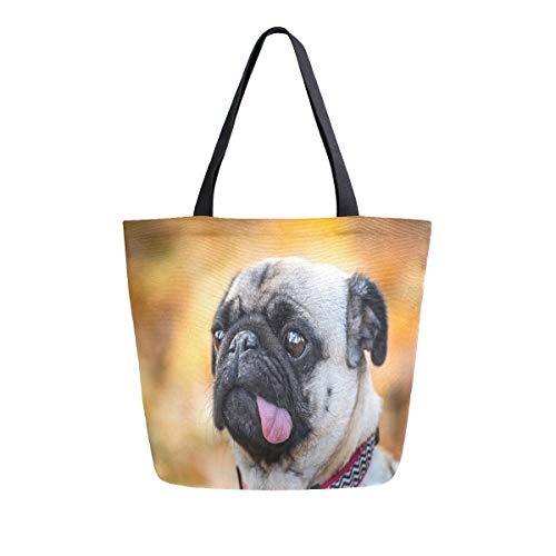 MNSRUU Reisetasche mit Mops-Motiv, wiederverwendbar, für Damen, groß, Legerer Handtasche, Schultertasche für Einkaufen, Lebensmittel, Reisen im Freien