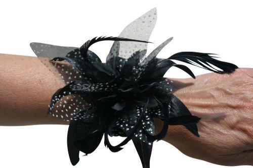 Life Is Good Magnifique Fleur et Plumes Corsage de Poignet Noir pour Les Mariages Races et Tous Vos événements spéciaux