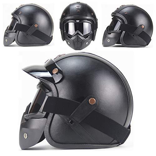 Yvonnelee Casco de moto vintage con visera solar integrada, gafas de protección UV, casco retro para hombre y mujer, pedal, Cruiser Roller Chopper