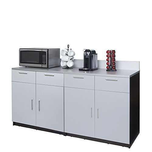 Coffee Kitchen Lunch Break Room Cabinets Model 4347 BREAKTIME 2 Piece Group Color Espresso/Silver Metallic - Factory Assembled (NOT RTA) Furniture Items ONLY.