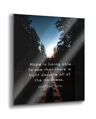 ArtsyQuotes 18x24 High Definition Metal Art Panel Print Titled: Desmond Tutu Quote: There is Light
