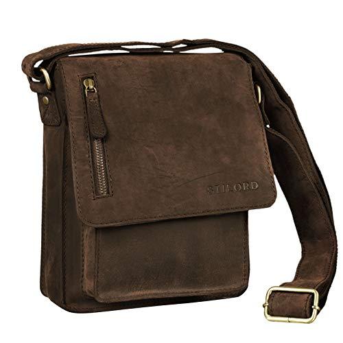 STILORD 'Finn' kleine Umhängetasche Herren Schultertasche Vintage Messenger Bag 8,4 Zoll Tablettasche echtes Büffel-Leder, Farbe:Colorado - braun