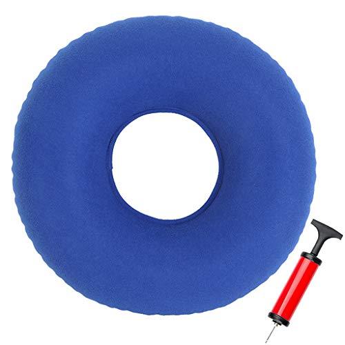 Ouceanwin Sitzring Hämorrhoiden Dekubitus Sitzring Blau, Sitzring Aufblasbares Orthopädisches Sitzkissen Rund Sitzring mit Pumpe für Entzündungen, Steißbeinbeschwerden, Schwangerschaft, Geburt