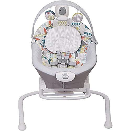 Graco Baby Duet Sway elektrische Babyschaukel ab Geburt bis 9 kg, anpassbare Geschwindigkeit, Vibration, Mobile mit Spielzeugen, auch als separate elektrische Babywippe verwendbar, Patchwork