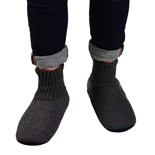 Panda Bros Slipper Socks Soft Cozy Thick House Indoor Boot Sock Shoes with Anti-Skid Bottom Soles for Men's(dark gray,10-13)