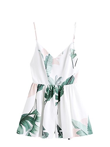 SweatyRocks Women's Sexy V Neck Floral Printed Spaghetti Strap Beach Romper Shorts Jumpsuit White Leaf M