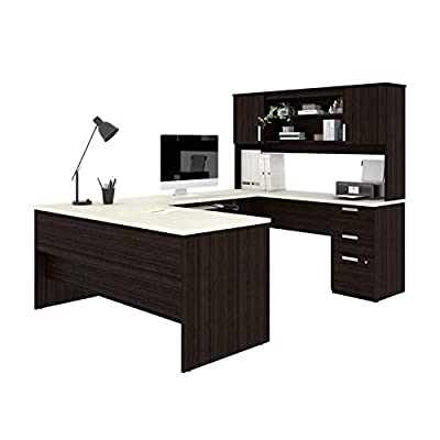 Bestar, Ridgeley Collection, Modern Executive Computer Desk with Pedestal and Hutch from Bestar