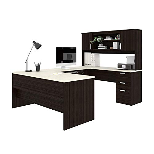 Bestar, Ridgeley Collection, Modern Executive Computer Desk with Pedestal and Hutch