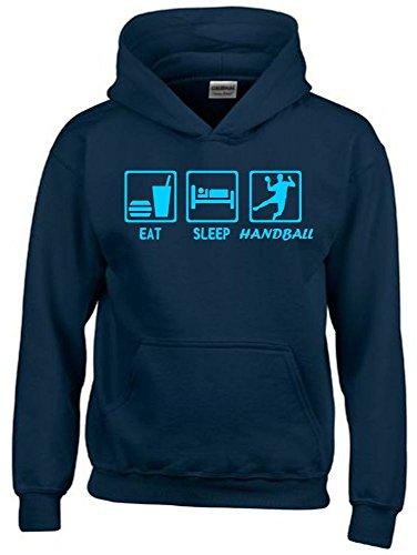 Coole-Fun-T-Shirts EAT Sleep Handball Kinder Sweatshirt mit Kapuze Hoodie Navy-Sky, Gr.164cm
