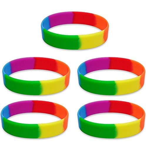 Regenbogenarmband Gummiarmbänder Lgbt Armband Regenbogen Silikon Sport Wristbands Liebe Silikonarmband Kinder Homosexuell Regenbogen Armband als Geschenk für Liebhaber von Homosexualität 4 Stück