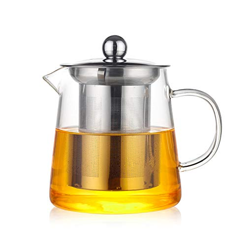 ZHJIUXING DQ potenciar Tetera de Vidrio, Tetera para uno con infusor de Acero Inoxidable Resistente al Calor té y café, 550ml+4cup