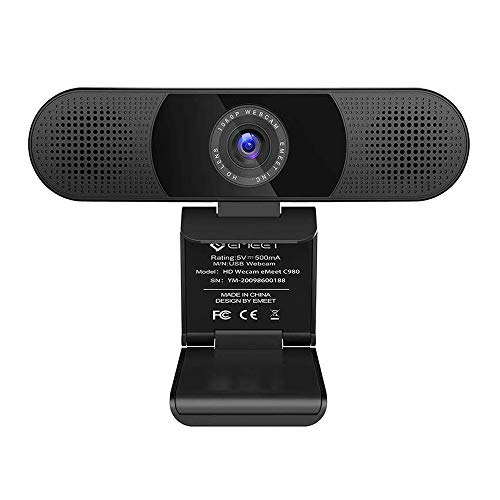 Webcam – eMeet C980 Desktop Camera Full HD 1080p PC Camera for Video Calling, Conferencing, Recording, Streaming, 4 Built-in Omnidirectional Microphones, Noise Reduction, Plug and Play w/Webcam Cover