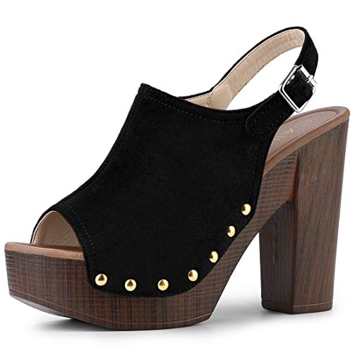 Allegra K Women's Slingback Platform Black Chunky Heel Sandals - 8 M US