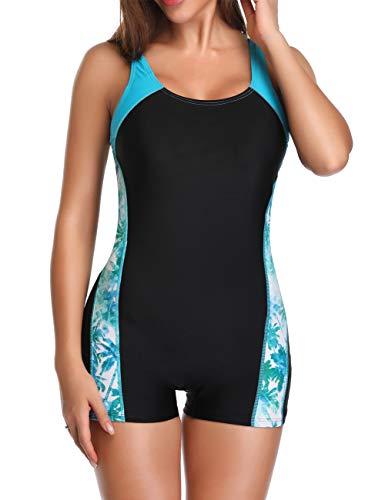 sand's coast Women's Boyleg Sport Pro One Piece Swimsuit Athletic Racerback Bathing Suit Swimwear for Teens (Sky Blue, US 6-8 (S))