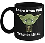 Vitazi Kitchenware Novelty Gifts - Teacher Mug (11oz) Learn It You Will Teach It I Shall, With Image  Ceramic Coffee Cup - Funny and Witty Take on Yoda Saying (Black)