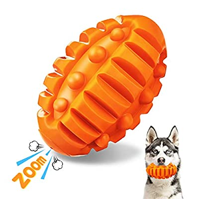 Focuspet Squeaky Dog Chew Toys for Aggressive Chewers, Indestructible Dog Toys Beef Flavor Rubber Toys for Relieve Boredom, Durable Interactive Rugby Chew Ball for Small/Medium/Large Dogs