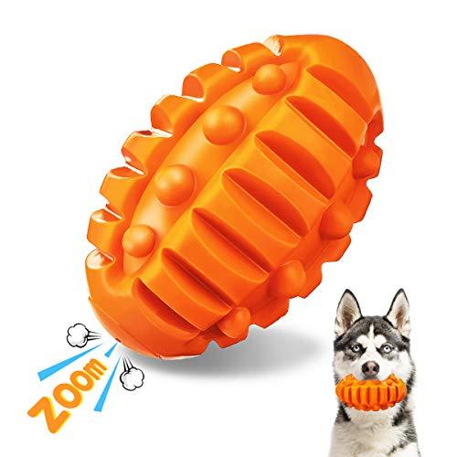 Focuspet Quietschspielzeug Hund, Hundespielzeug Ungiftig Robust aus Naturkautschuk mit Rindfleischgeschmack Kauspielzeug Hund zur Zahnreinigung für Kleine Mittelgroße Große Hunde Orange