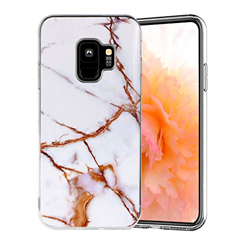 Misstars Coque en Silicone pour Galaxy S9 Marbre, Ultra Mince TPU Souple Flexible Housse Etui de Protection Anti-Choc Anti-Rayures pour Samsung Galaxy S9, Blanc Or